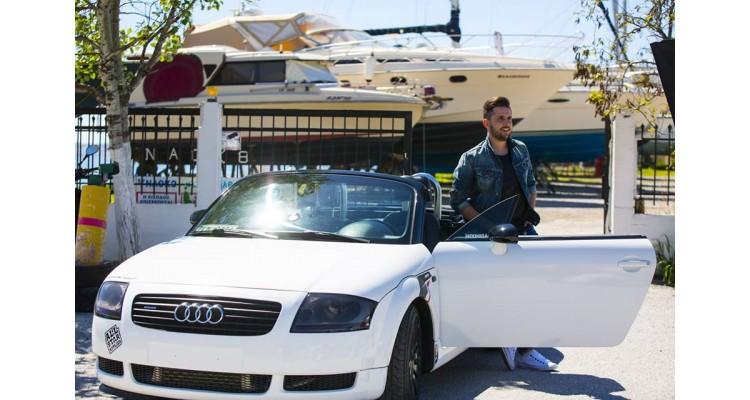 Stavros Kritikos in the car